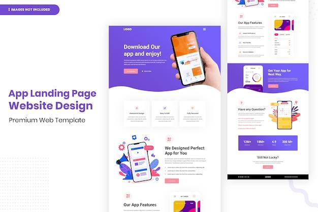 Design del sito web della pagina di destinazione dell'app