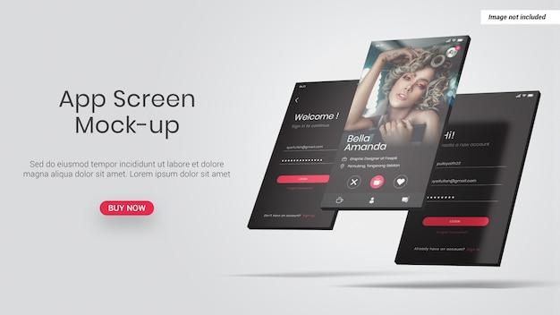 Mockup di schermo del telefono app isolato