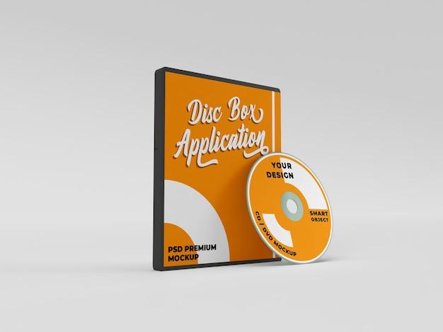 Mockup realistico del pacchetto di copertina del disco dvd del cd di installazione dell'applicazione