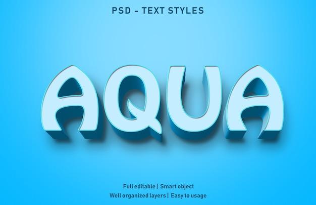 Modello di stile di effetti di testo aqua