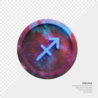 Simbolo dell'oroscopo dello zodiaco dell'acquario sulla moneta della stella 3d illustration