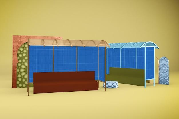 Mockup di progettazione della fermata dell'autobus arabo