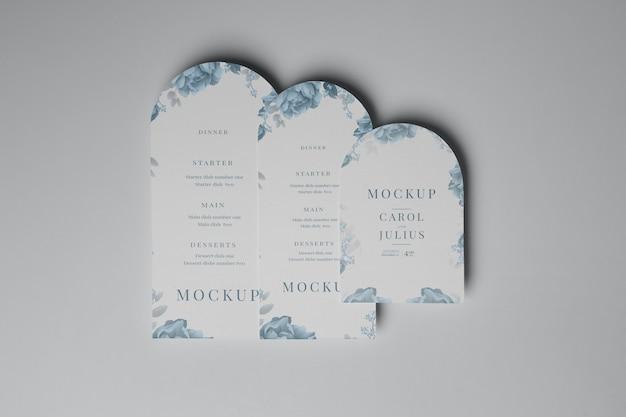 Mockup di progettazione di volantini ad arco