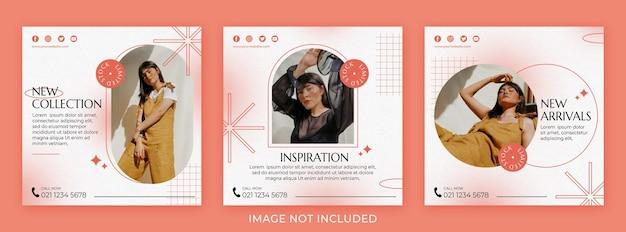 Set di post instagram di moda minimalista sfumature arco