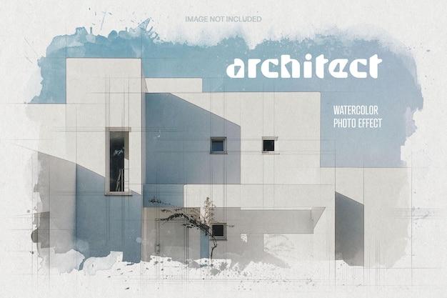 Architetto blueprint effetto foto ad acquerello