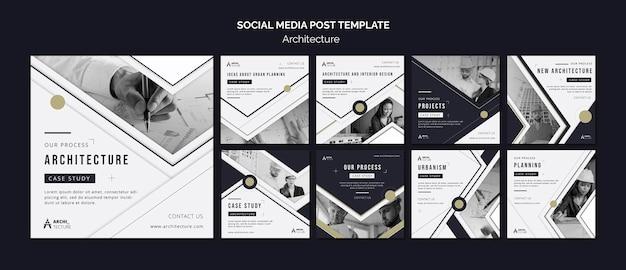 Modello di post sui social media di concetto di architettura Psd Premium