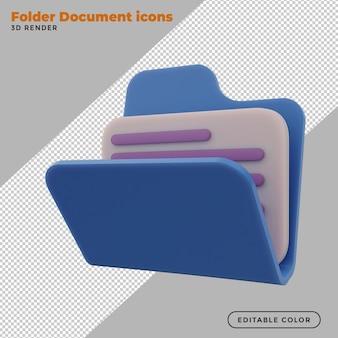 Cartella archivio e icona documento 3d