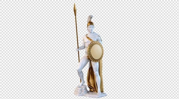Rendering 3d della statua del dio della guerra di ares