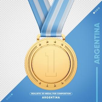 Medaglia d'oro argentina 3d per composizione