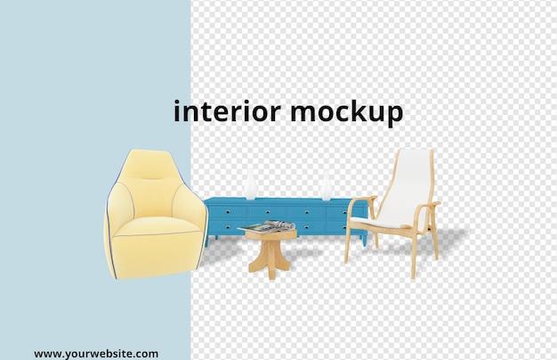 Mockup di poltrona e scrivania in rendering 3d