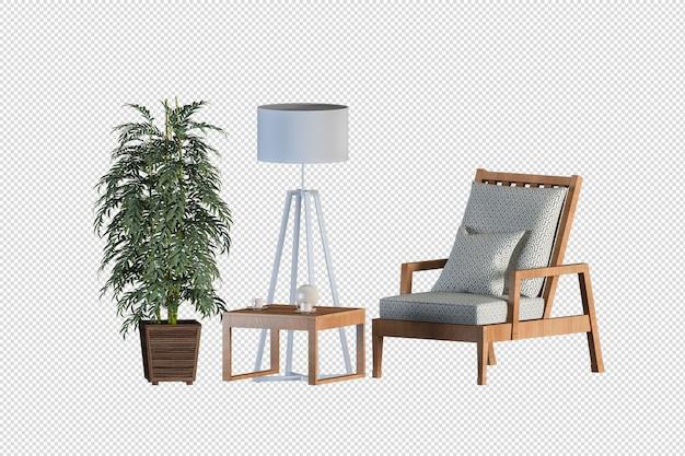 Poltrona e pianta in rendering 3d