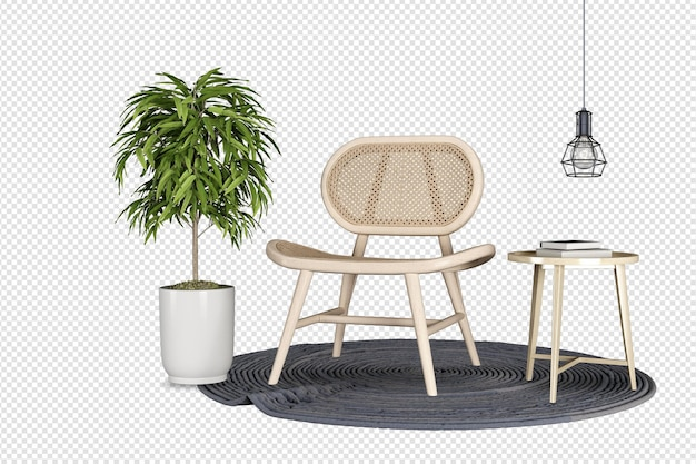 Mockup di poltrona e pianta di rendering 3d