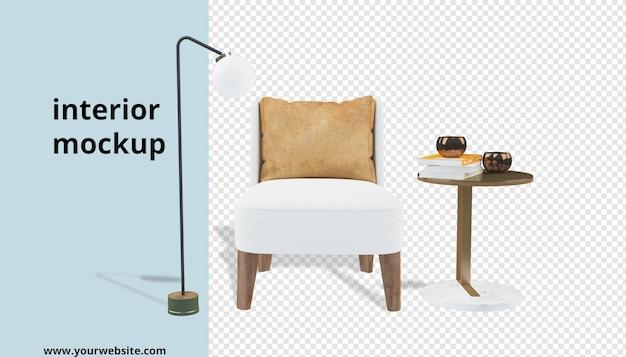 Poltrona con scrivania e lampada mockup in rendering 3d
