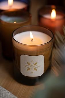 Marchio del prodotto psd mockup etichetta candela aromatica