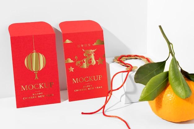 Disposizione degli elementi di mock-up isometrici del nuovo anno cinese