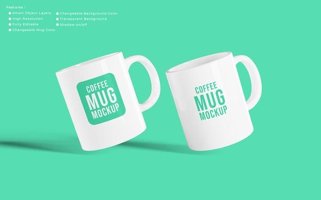 Disposizione di tazze da caffè realistiche minimaliste mockup con colore di sfondo modificabile
