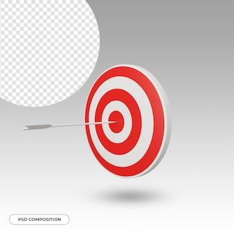 Freccia che colpisce il bersaglio isolato nel rendering 3d
