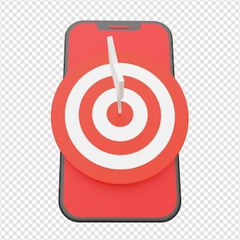 Freccia che colpisce il bersaglio sullo schermo del telefono