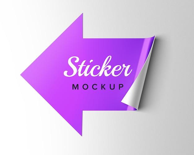 Progettazione di design mockup adesivo freccia