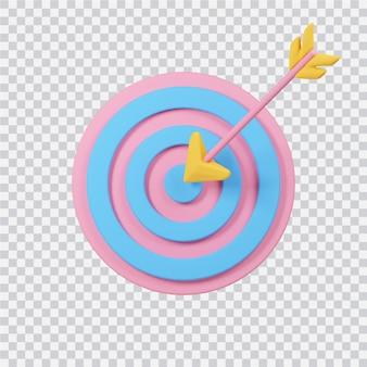 Freccia con icona di destinazione isolata su bianco immagine 3d rappresentata