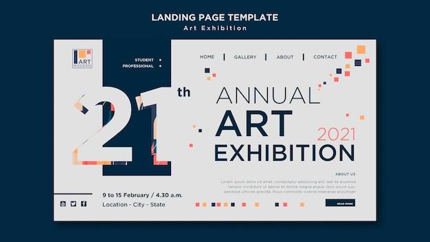 Modello di pagina di destinazione del concetto di mostra d'arte