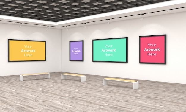 Art gallery frames muckup 3d illustration e 3d rendering angolo vista