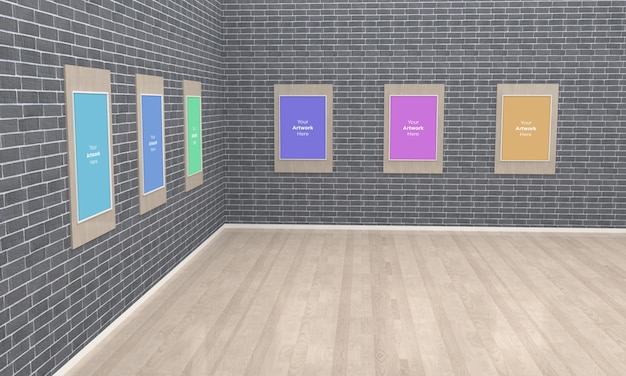 Art gallery frames muckup 3d illustration e 3d rendering angolo vista