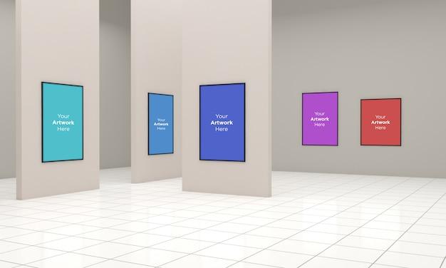 Art gallery frames muckup illustrazione 3d e rendering 3d con diverse direzioni