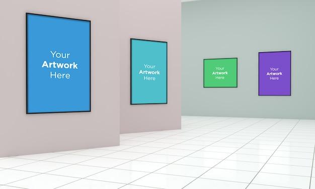 Art gallery frames muckup 3d illustrazione e rendering 3d