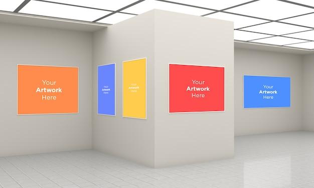 Art gallery frames muckup multi direzioni illustrazione 3d e rendering 3d