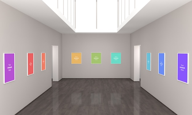 Art gallery multi frames muckup 3d illustrazione e rendering 3d