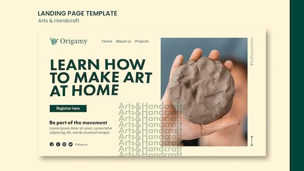 Modello di pagina di destinazione di arte e artigianato