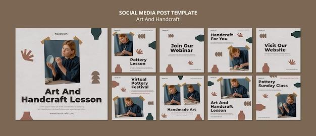 Post sui social media di arte e artigianato