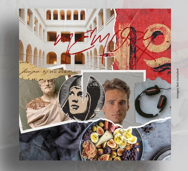 Mockup di collage senza cuciture di arte e memoria