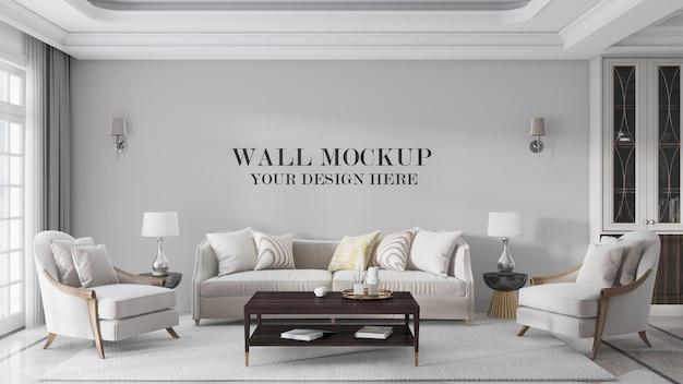 Mockup di parete del soggiorno di lusso in stile artdeco