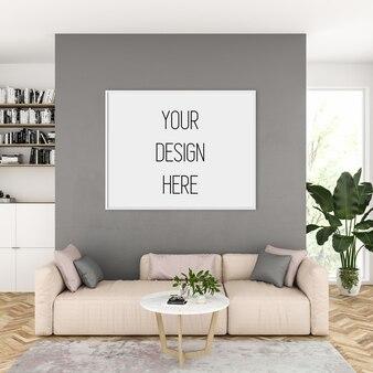 Mockup di opere d'arte, soggiorno con cornice orizzontale, interni scandinavi