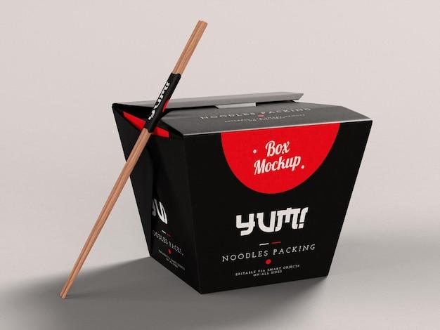 Mockup di scatola di consegna cibo asiatico da asporto