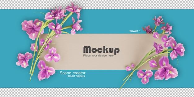 Mockup di illustrazione cornice fiore assortiti