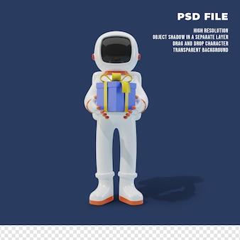 Personaggio astronauta con scatola regalo