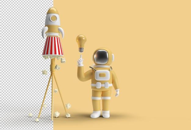 Mano dell'astronauta che punta il dito con la luce dell'idea gesto della lampadina con file psd trasparente del razzo spaziale.