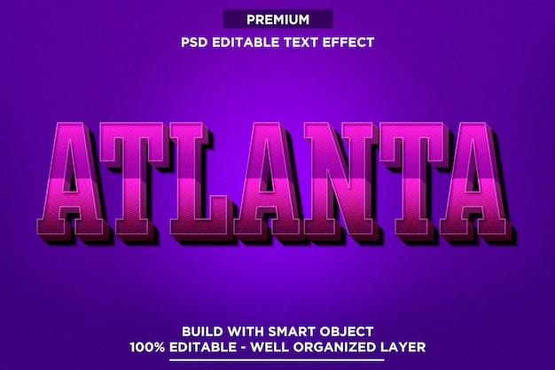 Atlanta - modelli di effetti di testo in stile carattere Psd Premium
