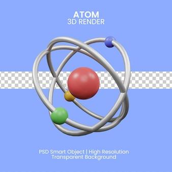Atomo. illustrazione 3d del modello con elettroni e neutroni isolati