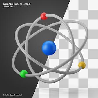 Atomo classe di scienze simbolo 3d illustrazione icona modificabile isolato