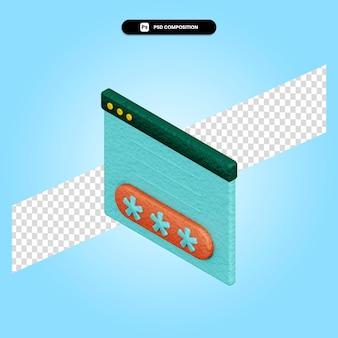 Illustrazione di rendering 3d di autenticazione isolata