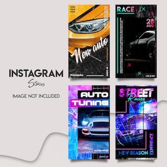 Insieme di modelli di storie di instagram auto