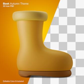 Scarpe da pioggia autunnali scarpe 3d illustrazione rendering icona modificabile isolato