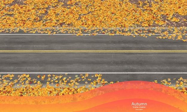 Strada autunnale con foglie autunnali creatore di scene autunnali vista dall'alto