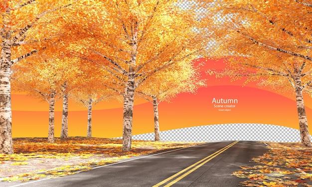 Strada autunnale con alberi autunnali e foglie secche creatore di scene autunnali betulla in autunno