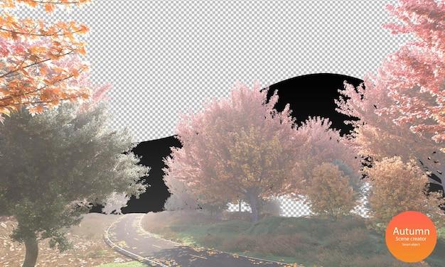 Strada autunnale con alberi autunnali e foglie secche creatore di scene autunnali erba verde nebbiosa