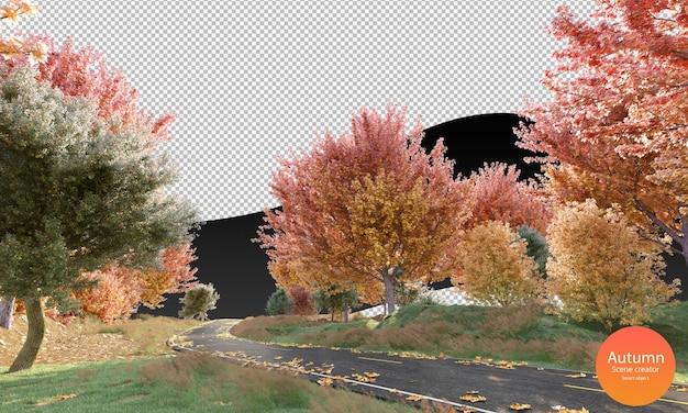Strada autunnale con alberi autunnali e foglie secche creatore di scene autunnali erba verde